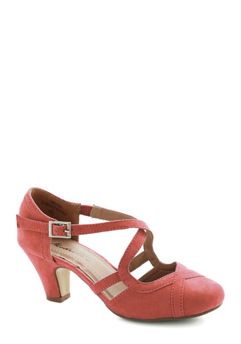 Fancied Footwork Heel in Coral - Mid, Faux Leather, Solid, Prom, Wedding, Party, Valentine's, Good, Strappy, Coral, Bridesmaid, Variation, Spring