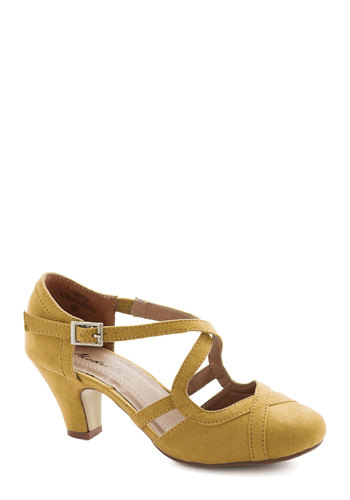Fancied Footwork Heel in Mustard - Mid, Faux Leather, Yellow, Solid, Prom, Wedding, Party, Good, Strappy, Vintage Inspired, 30s, Variation, Bridesmaid, Spring