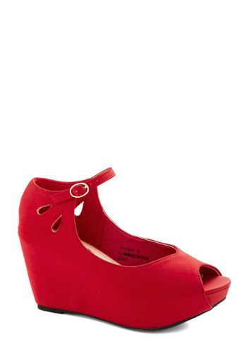 Strawberry Sangria Wedge - Red, Solid, Party, Cocktail, Holiday Party, Peep Toe, Mid, Faux Leather, Cutout, Platform, Wedge, Valentine's