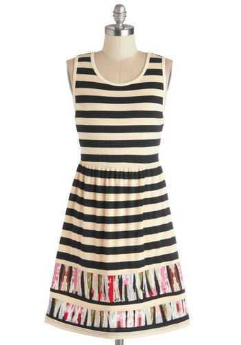 Hint of Pigment Dress by Tulle Clothing - Jersey, Knit, Mid-length, Tan / Cream, Black, Multi, Stripes, Casual, A-line, Tank top (2 thick straps), Good, Scoop, Sundress