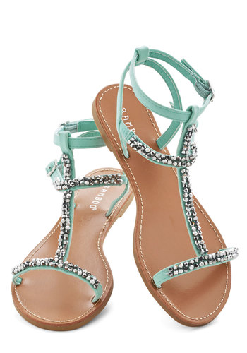 Beachside Browsing Sandal - Flat, Mint, Solid, Beads, Beach/Resort, Summer, Good, Strappy, Daytime Party, Pastel, Statement
