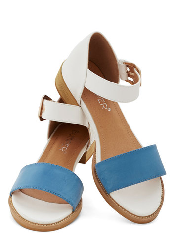 Fresh Croissants Sandal in Blue - Low, Faux Leather, Blue, Solid, Daytime Party, Beach/Resort, Colorblocking, Spring, Summer, Good, White, Variation, Americana, Press Placement