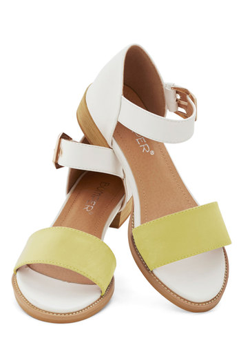 Fresh Croissants Sandal in Yellow - Low, Faux Leather, Yellow, Solid, Buckles, Daytime Party, Beach/Resort, Colorblocking, Spring, Summer, Good, White, Variation