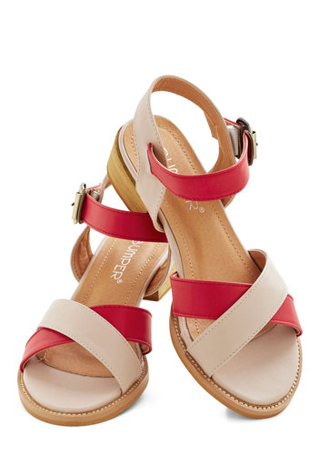Candy Shop Counter Sandal - Low, Faux Leather, Red, Tan / Cream, Solid, Beach/Resort, Colorblocking, Summer, Good, Strappy, Variation, Nautical