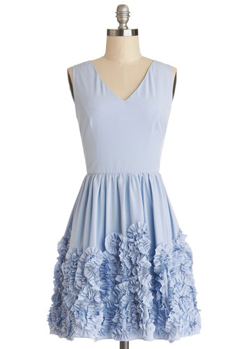 Girl Group Dress - Bridesmaid, Woven, Short, Blue, Solid, Ruffles, Wedding, Daytime Party, Pastel, A-line, Sleeveless, Better, V Neck, Spring