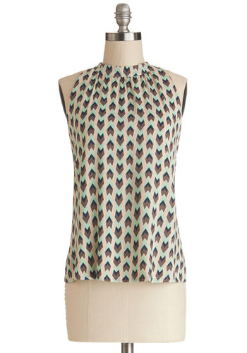 Daytime Disco Top by Tulle Clothing - Brown, Sleeveless, Better, Woven, Mid-length, Multi, Mint, Print, Multi, Sleeveless