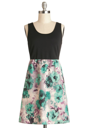 Paint of Heart Dress by Tulle Clothing - Floral, Casual, A-line, Twofer, Tank top (2 thick straps), Better, Scoop, Knit, Woven, Mid-length, Multi, Green, Purple, Black