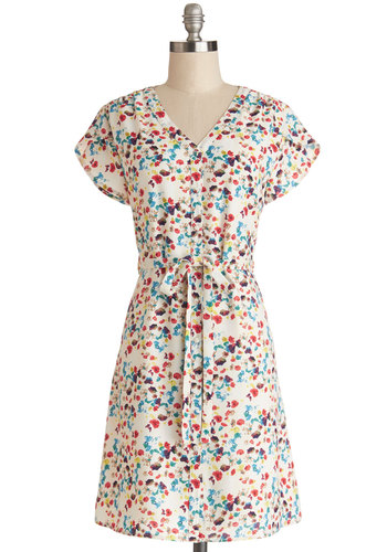 Sunroom Serenade Dress by Tulle Clothing - Multi, Floral, Buttons, Belted, Casual, A-line, Cap Sleeves, Better, V Neck, Woven, Mid-length, Spring, Sundress