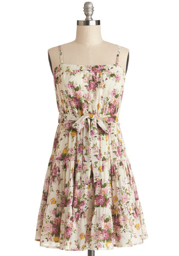Tip Topiary Shape Dress - Woven, Short, Multi, Floral, Belted, Casual, A-line, Spaghetti Straps, Sundress, Spring, Summer