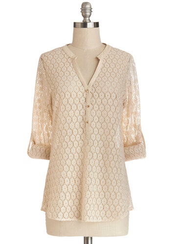 Darling Day Off Top - Better, White, 3/4 Sleeve, Sheer, Faux Leather, Knit, Mid-length, Spring, Cream, Solid, Buttons, 3/4 Sleeve, Cover-up