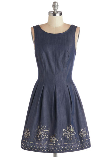 Simply the Fest Dress - Cotton, Denim, Woven, Mid-length, Blue, Tan / Cream, Embroidery, Pleats, Casual, A-line, Sleeveless, Scoop