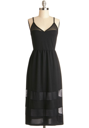 Nashville by Night Dress - Sheer, Knit, Black, Solid, Casual, LBD, A-line, Spaghetti Straps, Good, V Neck, Sundress, Long