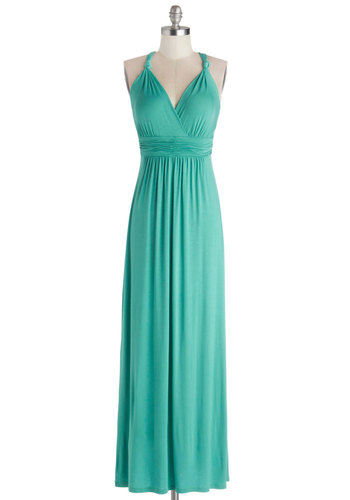Green Your City Dress in Turquoise - Jersey, Knit, Long, Solid, Ruching, Casual, Maxi, Racerback, Good, V Neck, Blue, Beach/Resort, Variation, Cover-up
