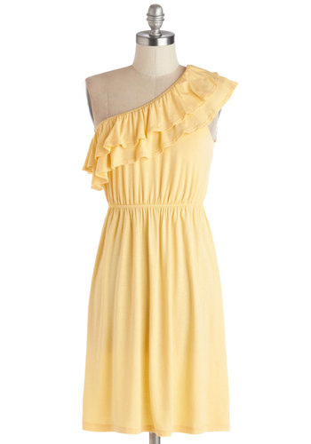 Basque in the Sun Dress - Jersey, Knit, Short, Yellow, Solid, Ruffles, Casual, A-line, One Shoulder, Good, Pastel, Cover-up