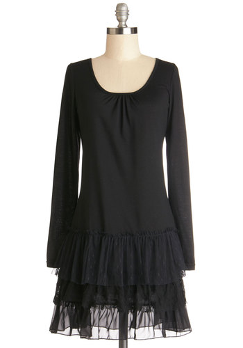 Twist on Traditional Dress - Knit, Short, Black, Solid, Lace, Tiered, Casual, Drop Waist, Long Sleeve, Scoop