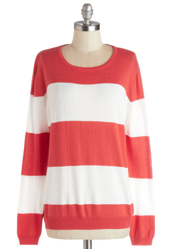 Logical Lounging Sweater - Knit, Mid-length, White, Stripes, Casual, Long Sleeve, Red, Long Sleeve, Coral, Nautical