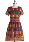Naturalist Talent Dress in Rust by Ruby Rocks - Woven, Mid-length, Multi, Print, Casual, A-line, Short Sleeves, Better, Red, Exposed zipper, Poms, Variation