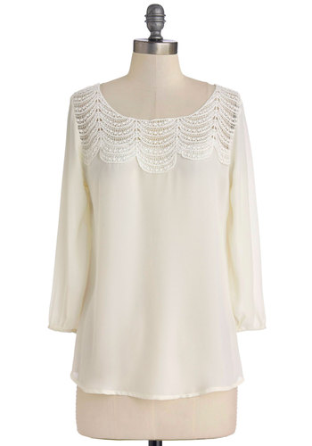 Operetta Audition Top in White - Sheer, Woven, Mid-length, Chiffon, White, Solid, Crochet, Daytime Party, 3/4 Sleeve, Scoop, White, 3/4 Sleeve