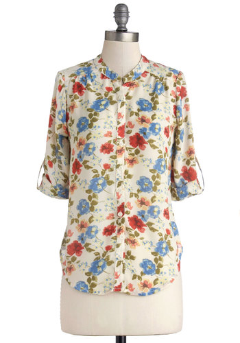 Fleur Guide Top - Sheer, Mid-length, Woven, Multi, Red, Blue, Tan / Cream, Floral, Buttons, Long Sleeve, Spring, Good, Multi, Tab Sleeve, Casual