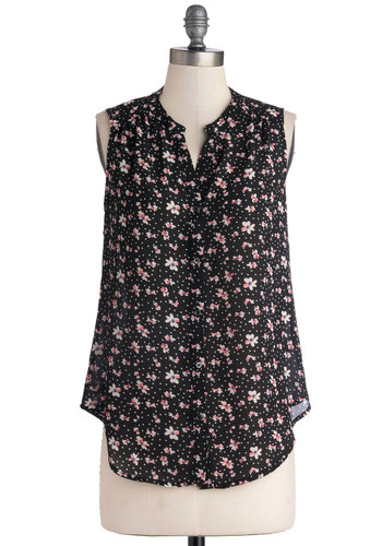 Pretty Petunias Top - Woven, Mid-length, Black, Pink, Tan / Cream, Floral, Buttons, Daytime Party, Sleeveless, Spring, Good, Black, Sleeveless, Casual