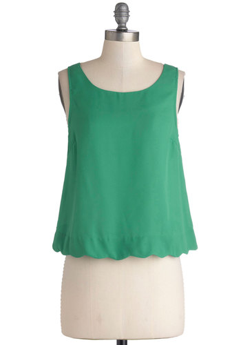 Breezy on the Eyes Top - Woven, Short, Green, Solid, Buttons, Scallops, Daytime Party, Vintage Inspired, Darling, Sleeveless, Good, Green, Sleeveless, Spring, 60s, Cropped, Scoop, Beach/Resort