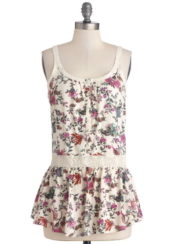 Thank You Notable Top - Long, Multi, Floral, Festival, Spring, Summer, Good, Multi, Sleeveless, Tan / Cream, Lace, Spaghetti Straps, Lace