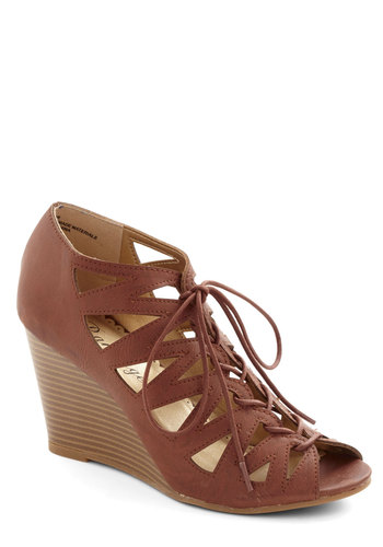 Iced Coffee Date Wedge - Mid, Faux Leather, Tan, Solid, Cutout, Good, Wedge, Lace Up, Daytime Party