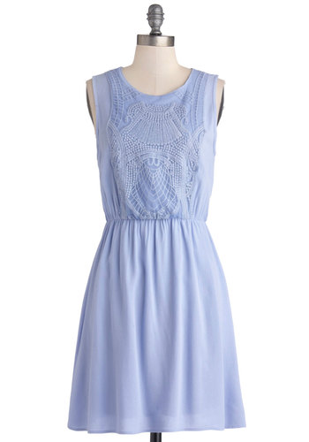 Estate to Remember Dress - Woven, Mid-length, Blue, Solid, Lace, Casual, A-line, Tank top (2 thick straps), Good, Scoop, Lace
