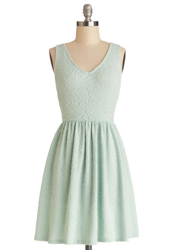 Sundae Afternoon Dress - Knit, Mid-length, Mint, Solid, Casual, Pastel, A-line, Tank top (2 thick straps), Good, V Neck