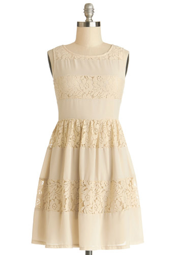 Lattes in Lace Dress - Knit, Woven, Short, Tan, Solid, Lace, A-line, Sleeveless, Good, Daytime Party, Lace