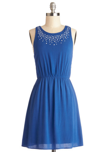 Bedazzle Me Dress - Woven, Mid-length, Blue, Solid, Pearls, Party, A-line, Sleeveless
