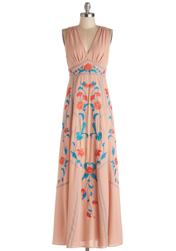 Cinque Terre It Up Dress - Pink, Blue, Embroidery, Daytime Party, Maxi, Better, V Neck, Sheer, Woven, Long