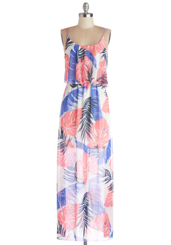 Promenade in Port Dress - Chiffon, Sheer, Woven, Long, Multi, Floral, Casual, Beach/Resort, Maxi, Spaghetti Straps, Good, Scoop, Blue, Pink, White, Sundress