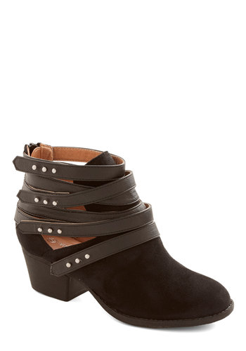 Hops, Skip, and a Jump Bootie in Black - Mid, Faux Leather, Black, Solid, Cutout, Good, Strappy, Studs, Variation
