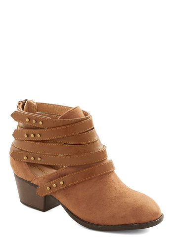 Hops, Skip, and a Jump Bootie in Caramel - Mid, Faux Leather, Tan, Solid, Cutout, Studs, Good, Strappy, Variation, Festival