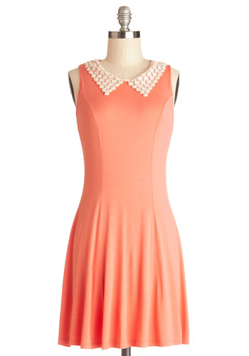Ring the Bellini Dress - Orange, Solid, Crochet, Pearls, Casual, A-line, Sleeveless, Good, Collared, Knit, Short, Jersey, Coral