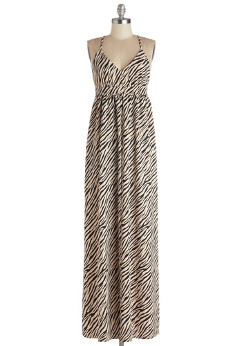 So Safari, So Good Dress - Tan / Cream, Black, Animal Print, Maxi, Spaghetti Straps, Better, V Neck, Beach/Resort, Knit, Long, Summer