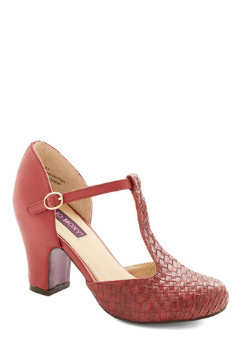 In and Haute Heel in Cranberry - High, Leather, Red, Solid, Woven, Party, Daytime Party, Valentine's, Vintage Inspired, 20s, 30s, Better, T-Strap