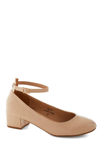 Literary Luck Heel in Almond - Low, Faux Leather, Solid, Daytime Party, Minimal, Good, Chunky heel, Variation, Cream, Work