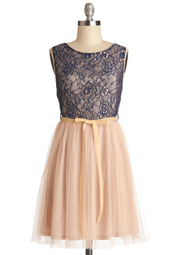 First Slow Dance Dress - Blue, Pink, Lace, Belted, Prom, Ballerina / Tutu, Sleeveless, Better, Scoop, Knit, Woven, Mid-length, Spring