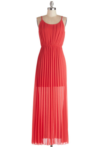Dock Date Dress - Red, Solid, Pleats, Party, Valentine's, Maxi, Spaghetti Straps, Good, Scoop, Chiffon, Sheer, Long, Exposed zipper, Beach/Resort