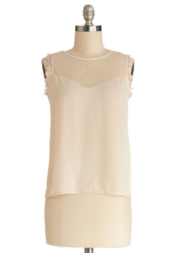 Mount Washington Meeting Top - Chiffon, Sheer, Knit, Woven, Short, Cream, Solid, Lace, Ruffles, Daytime Party, Sleeveless, Fairytale, Good, White, Sleeveless, Lace