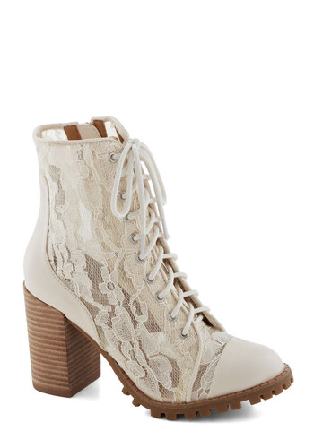 Divine and Dash Boot in Ivory - Mid, Sheer, Leather, Knit, Cream, Solid, Lace, Daytime Party, Vintage Inspired, 90s, Better, Lace Up, Chunky heel, Variation, Lace