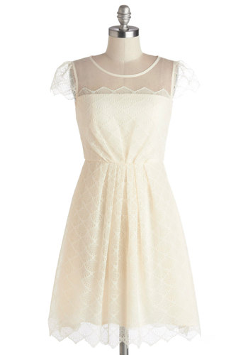 Courtship to Courthouse Wedding Dress - Sheer, Knit, Mid-length, Cream, Solid, Lace, Wedding, Party, Graduation, Bride, A-line, Better, Scallops, Lace