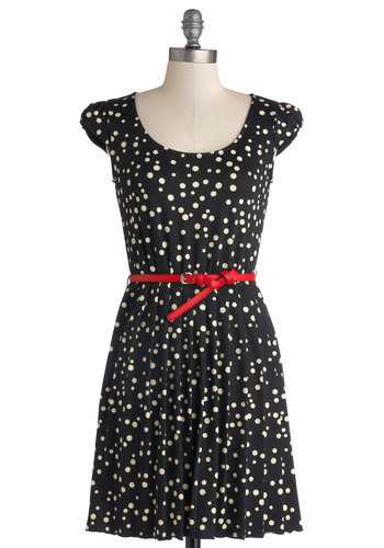 Party Starter Dress - Black, White, Polka Dots, Belted, Work, Casual, A-line, Good, Scoop, Knit, Mid-length, Cap Sleeves