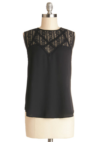 Take a Glance Top - Chiffon, Sheer, Woven, Mid-length, Black, Solid, Lace, Sleeveless, Good, Black, Sleeveless, Lace