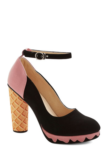 Superlative Sundae Heel - High, Leather, Pink, Black, Tan / Cream, Solid, Novelty Print, Party, Quirky, Best, Chunky heel, Platform, Statement