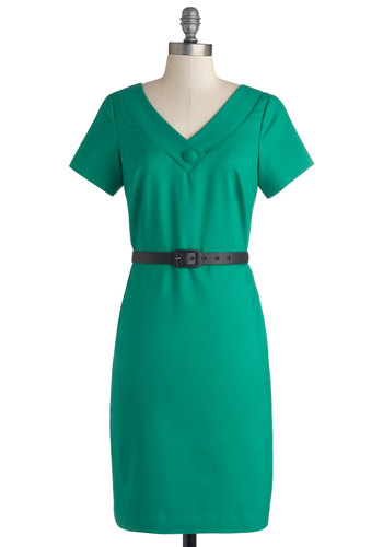 We Come in Chic Dress by Myrtlewood - Knit, Mid-length, Green, Solid, Pockets, Belted, Work, Sheath / Shift, Short Sleeves, Better, V Neck, Exclusives