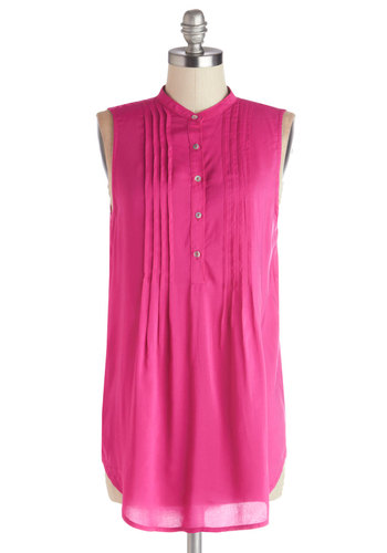 Vacay Adventure Top in Flamingo - Woven, Long, Pink, Solid, Buttons, Pleats, Casual, Beach/Resort, Sleeveless, Variation, Good, Pink, Sleeveless