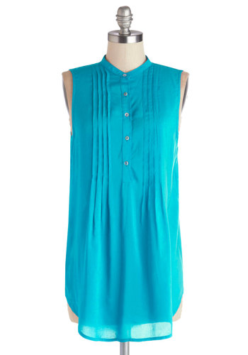 Vacay Adventure Tunic in Aqua - Long, Blue, Solid, Buttons, Sleeveless, Spring, Good, Blue, Sleeveless, Pleats, Casual, Variation
